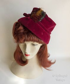 Vintage 1950s JAN DEC Burgundy Velvet Demi Cloche Hat with Pheasant Feather Trim by UpStagedVintage on Etsy