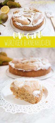 Der beste Low Carb Birnenkuchen! Keine Idee was du mit der Birnenernte anstellen sollst? Dann ist dieser würzige Birnenkuchen etwas für dich! #lowcarb #glutenfrei