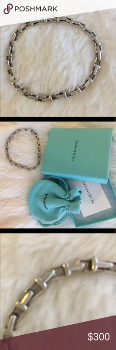 """Tiffany and Co. authentic silver """"T"""" bracelet Beautiful, original Tiffany T, narrow chain bracelet. Hidden T clasp. Comes with suede bag and box. Tiffany and Co. Jewelry Bracelets"""