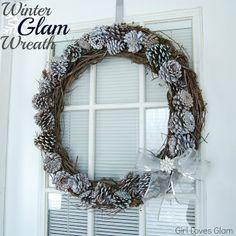 pine cone wreath tutorial   Winter Glam Pine Cone Wreath #tutorial #diy ...   Wreaths & Door Decor