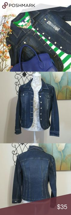 A.M.I Jean Jacket A.M.I. Womens Medium M Dark Blue Wash Stretch Classic Denim Jean Jacket.  Button down Light fading/ distress look Fits like a blazer Forms to body, very flattering  ?? I have one & I Love it! Very durable & does great in washing machine. 89% cotton 9%polyester 2% Spandex A.M.I Jackets & Coats