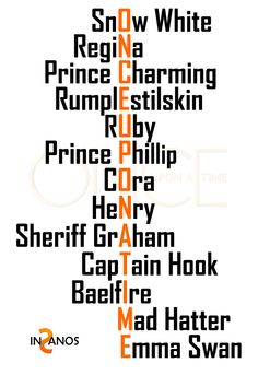 Snow White, Regina, Prince Charming, Rumplestilskin, Ruby, Prince Phillip, Cora, Henry, Sherriff Grahm, Captain Hook, Bael fire, Mad Hatter, Emma Swan