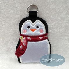 #Penguin #GiftCard Holder, #Ornament, #KeyChain with Cranberry Red Scarf @SewAmazin