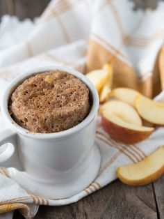 I wanted to give you a Fall-themed recipe to celebrate the season, so I am sharing my recipe for Cinnamon-Apple 2-Minute Mug Cake!