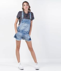 Jardineira Feminina em Jeans Efeito Detonado - Lojas Renner