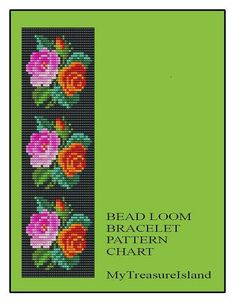 Bead Loom Bracelet Pink and Red Roses Repeating Motif Floral Bracelet Pattern PDF