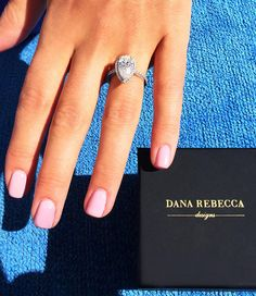 Say YES to this custom pear shaped diamond engagement ring with halo! More info: Noah@danarebeccad... #engagement #wedding #ring