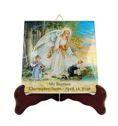 Personalized baptism gifts - customizable ceramic tiles - baptism favors, gift for baptism - catholic baptism gifts - Guardian Angel gifts