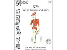 1930's Wrap blouse and skirt B38 PDF sewing | Etsy