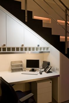 Eliminate dark corners with strip lighting underneath the shelf, bringing more light to your working area. Desk Areas, Study Areas, Small Space Office, Small Spaces, Interior Styling, Interior Design, Lighting Design, Lighting Ideas, Home Office Lighting