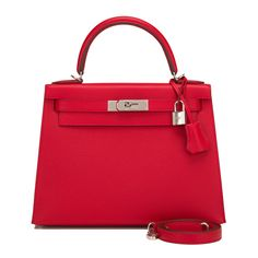 #Hermes #Sellier #Kelly #Bag Rouge Casaque Epsom Palladium Hardware