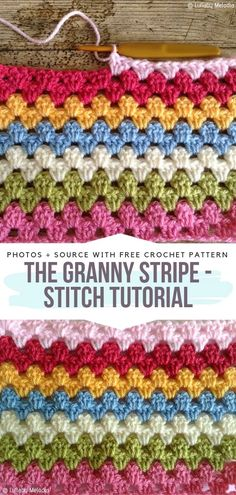 Colorful Textured Stitches Free Crochet Patterns - Crochet Stitches and Edgings - Colorful Textured Stitches Free Crochet Patterns The Granny Stripe – Stitch Tutorial Free Crochet Pattern Crochet Waffle Stitch, Granny Pattern, Granny Square Crochet Pattern, Afghan Crochet Patterns, Knitting Patterns, Granny Square Tutorial, Crochet Granny, Crochet Crafts, Easy Crochet