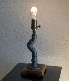 Industrial Candle Stick Style Desk Table Lamp with Black Iron Pipe and Hardwood Base
