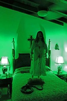 I would crap on myself if I walked in that room. No need for the snake on the bed. She's scary enough!