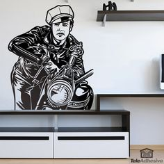 Wall sticker Marlon Brando - The wild one. American actor of cinema and theater. he received multiple awards for his artistic achievements Marlon Brando, Blues Brothers, Pulp Fiction, Wild Ones, Decoration, Cinema, Wall Stickers, Hot Rods, Stencils