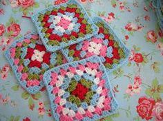 Granny squares in Cath Kidston colours