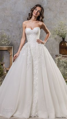 amelia sposa fall 2018 bridal strapless sweetheart neckline heavily embellished bodice romantic princess ball gown a line wedding dress chapel train (1) mv -- Amelia Sposa 2018 Wedding Dresses