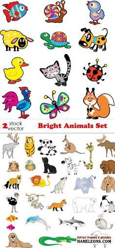 Яркие цветные животные - Векторный клипарт | Animals vector