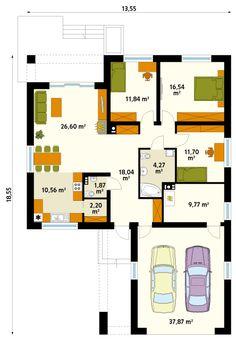 Projekt domu Kiwi 4 on Behance House Plans Mansion, House Floor Plans, Building Design, Building A House, Circle House, Small Villa, Casa Loft, Minecraft Architecture, Small House Design