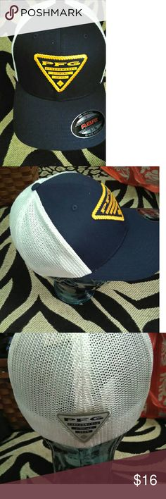 NWOT Performance Fishing Gear Hat By Columbia (s/m This is a new with tags Performance Fishing Gear Hat By Columbia size small/medium.   This is a fitted hat with flex technology.  This is dark blue with white mesh and yellow accents.  Very nice for a gift or to keep for yourself.    Thank you for stopping by and looking! Columbia  Accessories Hats