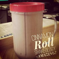 MY FAVORITE SHAKEOLOGY! Cinnamon Roll... 1/2 scoop Vanilla Shakeology, 1/2 scoop Chocolate Shakeology, cinnamon to taste, milk of choice, maple syrup to taste. = pure deliciousness!!!! :)  Get yours today at www.teambeachbody.com/shop/-/shopping/MDSUSH311G?referringRepId=269571