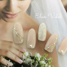 Bride nail # perfect for an important day # All… 35 Simple Ideas for Wedding Nails Design 1 Simple Wedding Nails, Wedding Manicure, Wedding Nails Design, Trendy Wedding, Beautiful Nail Art, Gorgeous Nails, Nail Art Noel, Bride Nails, Elegant Nails