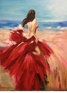 Diamond Painting Red Skirt Beach Woman Paint with Diamonds Art Crystal Craft Decor Oil Painting App, Figure Painting, Painting Tips, Woman Painting, Portrait Art, Figurative Art, Painting Inspiration, Female Art, Watercolor Art