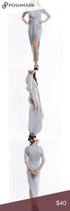 """""""The Grey Lady"""" Asymmetrical Knot Front Dress Twist front, asymmetrical dress in heather grey. Perfect for any occasion. Runs true to size. Brand new without tags. NO TRADES. Bare Anthology Dresses"""