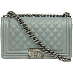 Chanel Boy Lambskin Leather Bag ($3,995) ❤ liked on Polyvore featuring bags, handbags, chanel, grey, crossbody purse, purse crossbody, gray purse, man bag and crossbody hand bags