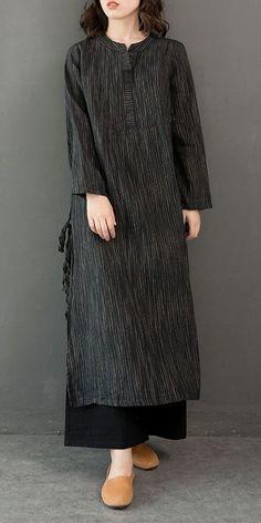 Vintage Cotton Linen Maxi Dresses Women Casual Clothes – Linen Dresses For Women Casual Wear Women, Casual Dresses For Women, Casual Outfits, Clothes For Women, Casual Clothes, Womens Linen Dresses, Style Clothes, Dress Clothes, Summer Outfits