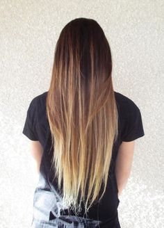 brown to blonde straight ombre! absolutely love this! i will do this  next time i die my hair most definitely  ✨