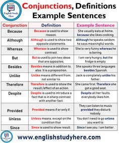 Conjunctions, Definitions and Example Sentences - English Study Here Teaching English Grammar, English Grammar Worksheets, English Writing Skills, English Sentences, English Vocabulary Words, English Language Learning, English Grammar Rules, Grammar Lessons, English Homework