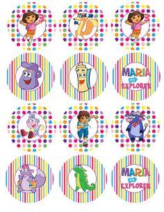 Dora the Explorer Party Circles Cupcake Toppers Digital File. $4.00, via Etsy.