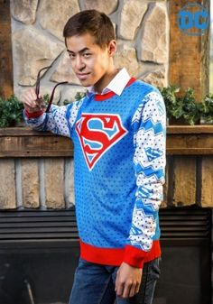 Classic Superman Logo Ugly Christmas Sweater #DC