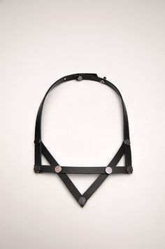 Aumorfia | LINEAR_A | PV_necklace | black leather & nickel studs