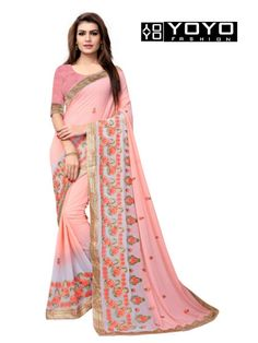 54d34f29bee91 Latest Georgette Peach Embroidered Saree at YOYO Fashion. Call or Whatsapp  for more info here
