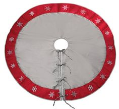 54 Alpine Chic Gray and Red Snowflake Border Tie Closure Christmas Tree Skirt ** Check out this great product.