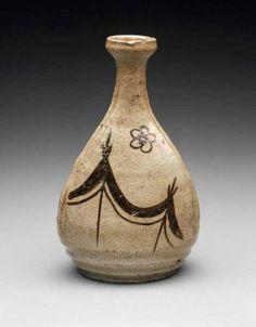 Sake bottle with design of drying nets  Japanese, Edo period, 17th century, Mino ware, Oribe type; stoneware with iron wash and wood ash and feldspathic glaze, MFA