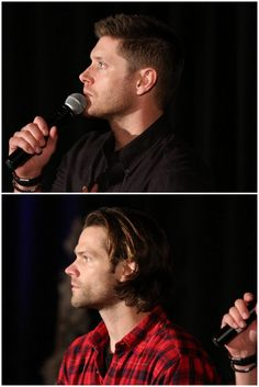 Jensen and Jared in profile, HousCon2016. you know how married couples morph over time into looking like each other? 11+ years later... :)