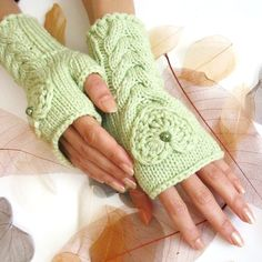 IN LOVE ... Pale Green Fingerless Gloves with a HEART by Rumina