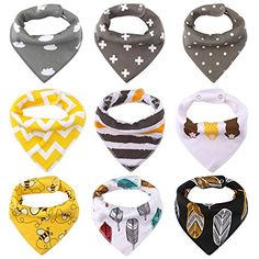 Accmor Bandana Bibs Set of 9 Soft Unisex Chic Organic Cotton Baby Bibs *** Check this awesome product by going to the link at the image.-It is an affiliate link to Amazon.