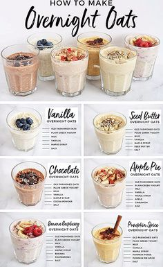 Meal prep just got easier with this collection of 6 simple, delicious and healthy overnight oat recipes! Perfect for on-the-go, these recipes won't disappoint! # Easy Recipes healthy 6 Overnight Oats Recipes You Should Know For Easy Breakfasts — Andianne Healthy Food Recipes, Oats Recipes, Healthy Drinks, Yummy Food, Healthy Breakfasts, Breakfast Healthy, Meal Prep Breakfast, Healthy Carbs, Healthy Breakfast Recipes For Weight Loss