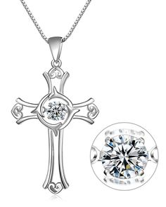 The One Jewelry 925 Sterling Silver Dancing Diamond Super Shiny Cross Pendant Necklace 18' (JP0049) ** Be sure to check out this awesome product.