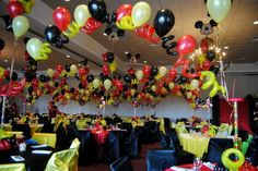 The party hall decorate with balloons.