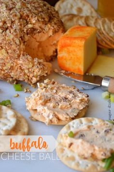 Buffalo Cheese Ball - Sugar Dish Me Cheese Ball Recipes, Appetizer Recipes, Appetizer Ideas, Holiday Appetizers, Holiday Foods, Snack Recipes, Buffalo Chicken Lettuce Wraps, A Food, Food And Drink