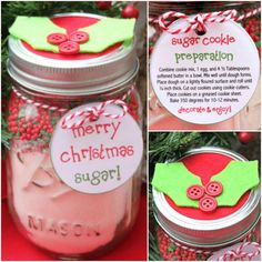 Cookie Mix in a Mason Jar Christmas Gift - Sugar Cookie Recipe & Label - Free Printable