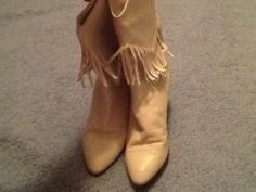 Vintage Neiman Marcus White Leather Fringed Cowboy Boots Sz 5.5 As Is
