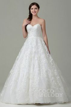 Hot Sale A-Line Sweetheart Natural Train Tulle Ivory Sleeveless Zipper With Button Wedding Dress with Appliques #weddingdress #cocomelody