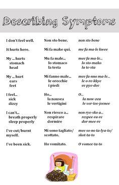 Describing Symptoms - How you feel in Italian