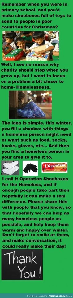 """Operation shoebox, what an awesome idea to help the homeless in America.  """"Charity starts at home"""" as the saying goes."""